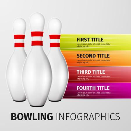 Bowling pinnen op een witte achtergrond, uitstekende vector illustratie,