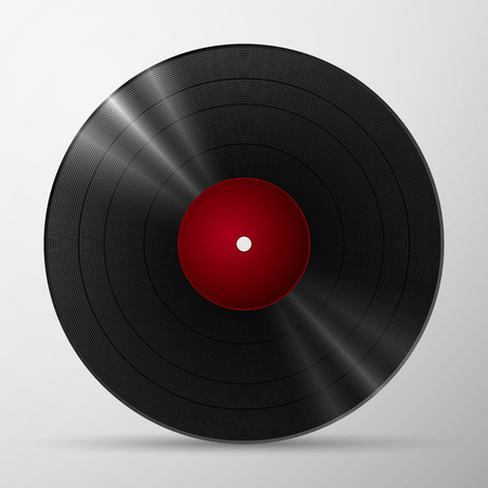 Black vinyl record lp album disc, isolated long play disk with blank label in red 矢量图像