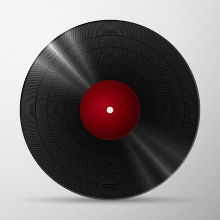 Zwart vinyl lp album disc, geïsoleerd lang spelen schijf met blank label in het rood Stock Illustratie