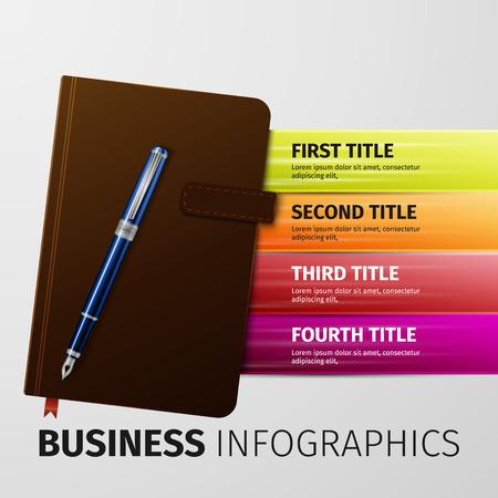 moleskin: brown business notebook with pen, excellent vector illustration, Illustration