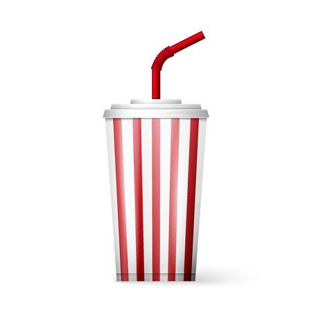 sip: Ilustraci�n de una bebida de la fuente de soda aislado en un fondo blanco. Vectores