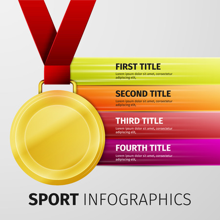gold medal: Gold medal with red ribbon isolated on white, excellent vector illustration