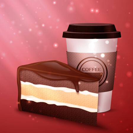 invigorate: Coffee and chocolate cake, excellent vector illustration, EPS 10