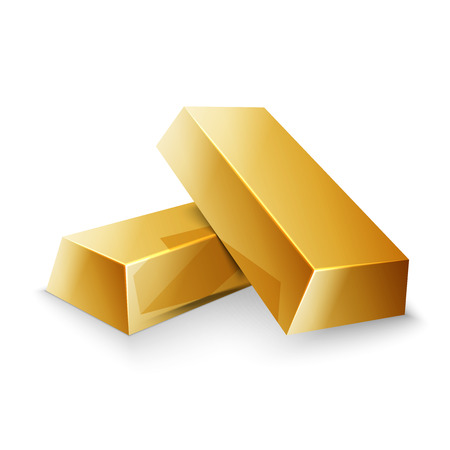 Gold bars isolated on white photo, excellent vector illustration, EPS 10