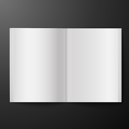 blank book: blank open magazine isolated over black background