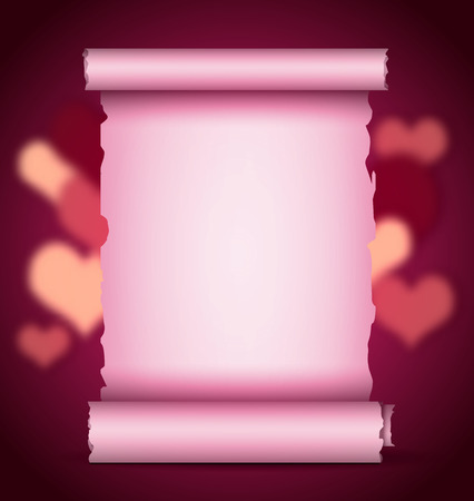 illustration of Valentine scroll on on bright background Vector