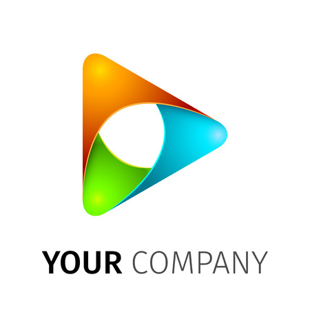 companies: Abstract colorful vector play icon on a white background