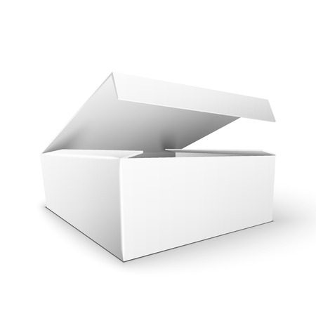 packaging template: White Product Cardboard rectangular Package Box