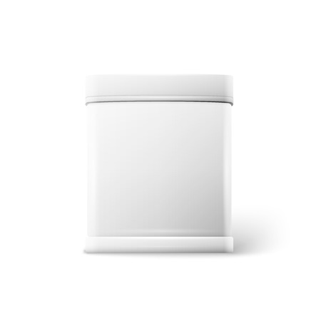 tin packaging: Vector object. White square tin packaging