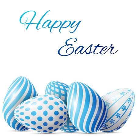 Gelukkige Pasen, vele wit-blauwe eieren met verschillende patronen op een witte achtergrond, uitstekende vectorillustratie, EPS 10