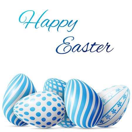 Happy Easter, many white-blue eggs with different patterns on a white background, excellent vector illustration, EPS 10