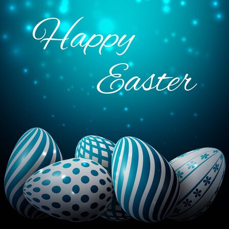 whiteblue: Happy Easter, many white-blue eggs with different patterns on a blue background Illustration