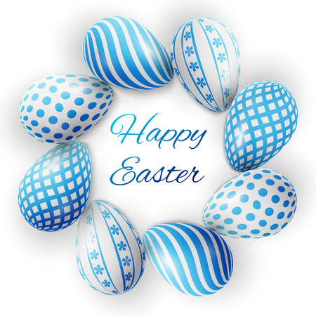 whiteblue: Happy Easter, many white-blue eggs with different patterns on a white background Illustration