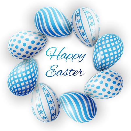 Happy Easter, veel witte-blauwe eieren met verschillende patronen op een witte achtergrond