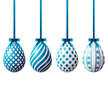 whiteblue: Happy Easter eggs, four white-blue eggs with different patterns on a white background