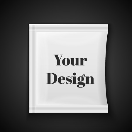 sachet: Blank white plastic sachet for medicine, condoms, drugs, coffee, sugar, salt, spices, isolated on grey background with place for your design and branding., excellent vector illustration, EPS 10 Illustration