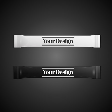 condoms: Blank white plastic sachet for medicine, condoms, drugs, coffee, sugar, salt, spices, isolated on grey background with place for your design and branding., excellent vector illustration,