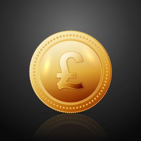 pound sterling: Gold coin with pound sterling sign. Vector illustration isolated on dark background Illustration