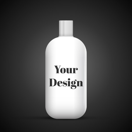 medical shower: Cosmetic Or Hygiene Grayscale White Gray Chrome Lid Plastic Bottle Of Gel, Liquid Soap, Lotion, Cream, Shampoo. Ready For Your Design. Illustration Isolated On Dark Background.  Illustration