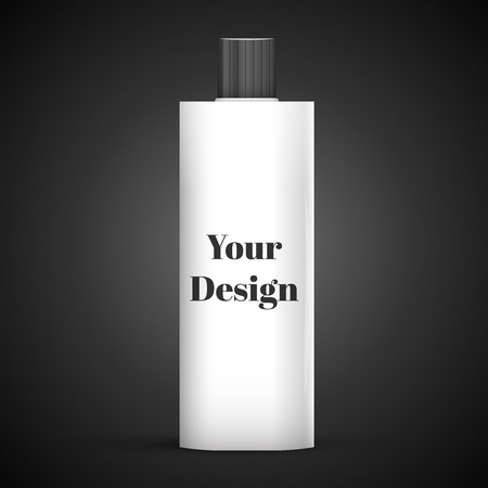 dark chrome: Cosmetic Or Hygiene Grayscale White Gray Chrome Lid Plastic Bottle Of Gel, Liquid Soap, Lotion, Cream, Shampoo. Ready For Your Design. Illustration Isolated On Dark Background.