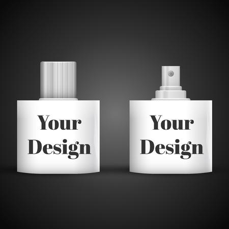 antiseptic: Cosmetic Parfume, Deodorant, Freshener Or Medical Antiseptic Drugs Square Plastic Bottle White. Illustration
