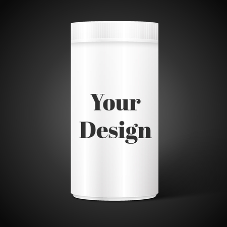 cylindrical: Empty white cylindrical box on the isolated black background, excellent vector illustration,