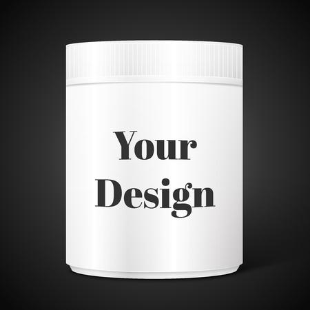 cylindrical: Vuoto scatola cilindrica bianca su sfondo nero isolato, eccellente illustrazione vettoriale,