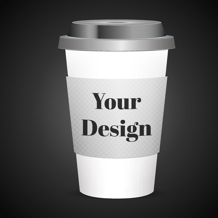 polystyrene: Coffee Cup on dark background, excellent vector illustration,