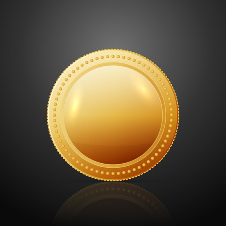 dollar coins: Gold coin. Vector illustration isolated on dark background