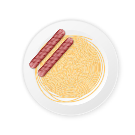 spaghetti cream sauce with sausage, excellent vector illustration, EPS 10