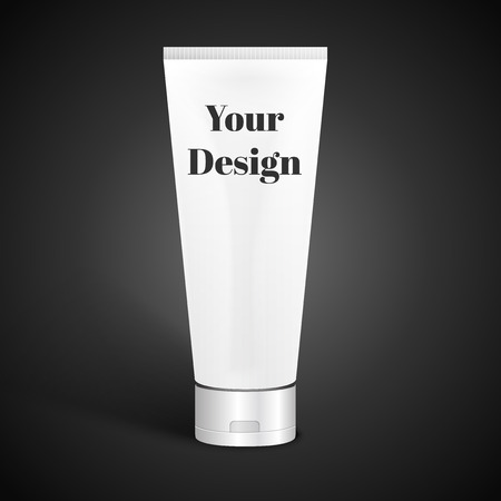 silver white: Tube Of Cream Or Gel Grayscale Silver White Clean. Ready For Your Design. Product Packing Vector EPS10