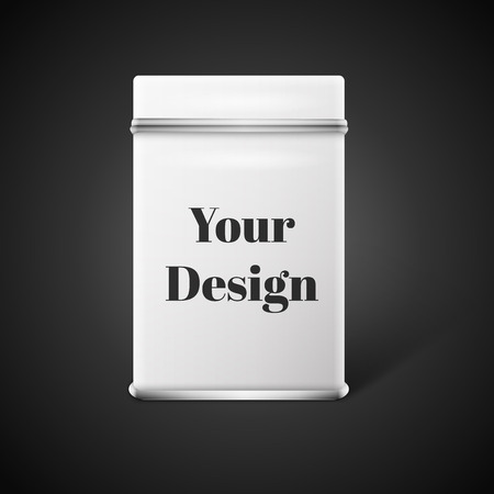 tin packaging: Vector object. White square tin packaging. Tea coffee dry products. Place your design.