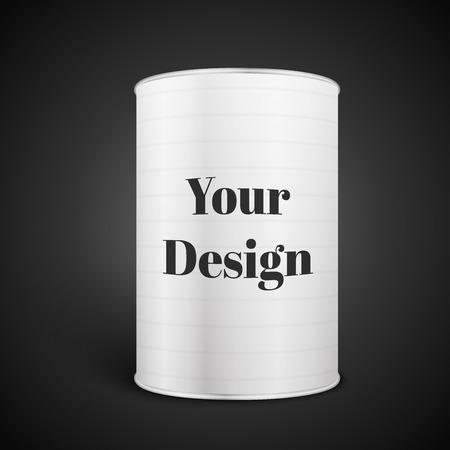 Bianco Blank Tincan metallo Tin Can, Cibo in scatola, eccellente illustrazione vettoriale, EPS 10