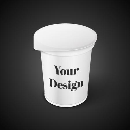 Corto blanco y bañera de Alimentos de contenedores de plástico para el postre, yogur, helado, Sream Sour o merienda. Listo para su diseño. Embalaje del producto vectorial EPS10 Foto de archivo - 37037903