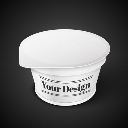 yogurt ice cream: White Short And Tub Food Plastic Container For Dessert, Yogurt, Ice Cream, Sour Sream Or Snack. Ready For Your Design.  Illustration