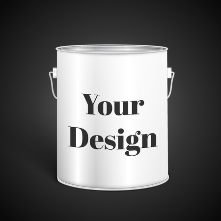 paint container: White Tall Tub Paint Bucket Container With Metal Handle, excellent vector illustration,