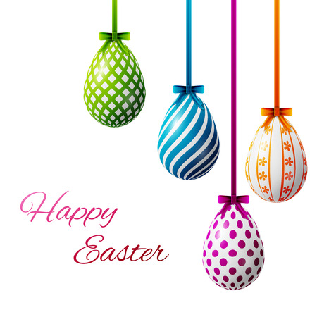 happy easter poster, colored eggs on a white background