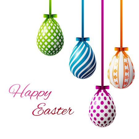 happy easter poster, gekleurde eieren op een witte achtergrond