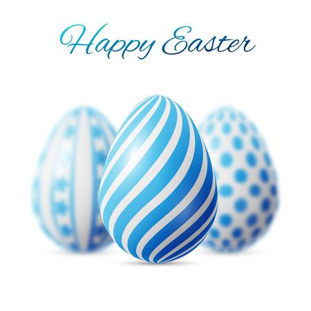 cartel Pascua feliz, tres huevos azules con diferentes patrones sobre un fondo azul Ilustración de vector