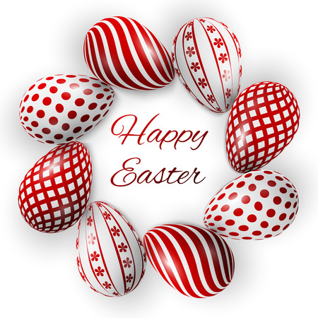 huevos de pascua: cartel Pascua feliz, huevos de color rojo con diferentes patrones sobre un fondo blanco
