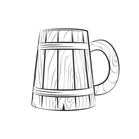 wooden beer cup isolated on white, excellent vector illustration, EPS 10 Vector