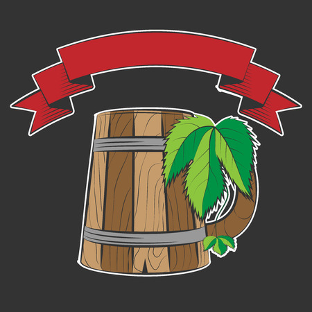 wooden beer cup isolated on black, excellent vector illustration, EPS 10 illustration