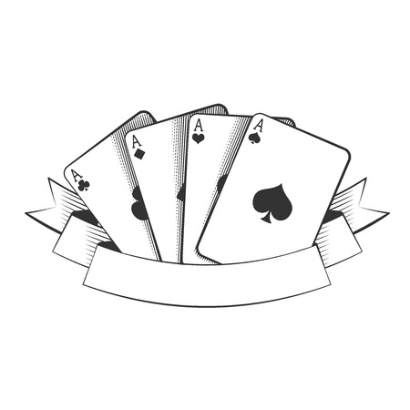 four aces playing cards suits on white, excellent vector illustration, EPS 10
