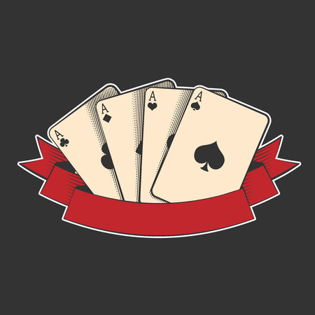 four aces playing cards suits on black, excellent vector illustration, EPS 10 Illustration