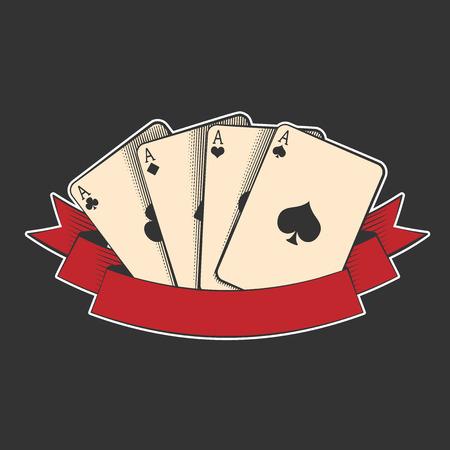 Vier Asse Karten passt auf schwarz, ausgezeichnete Vektor-Illustration, EPS-10 Standard-Bild - 37193541