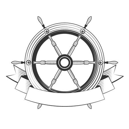 helm boat: barco timón sobre un fondo blanco, excelente ilustración vectorial, EPS 10