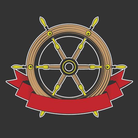 helm boat: barco timón sobre un fondo negro, excelente ilustración vectorial, EPS 10
