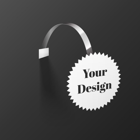 advertising wobbler: Vector Blank round Wobbler with Transparent Strip Isolated on a Black Background