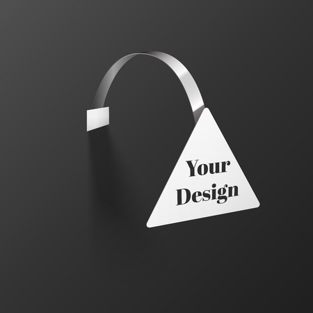 advertising wobbler: Vector Blank triangle Wobbler with Transparent Strip Isolated on a Black Background