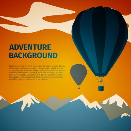 mountainous: Vector air balloon over mountainous terrain, excellent vector illustration, EPS 10 Illustration